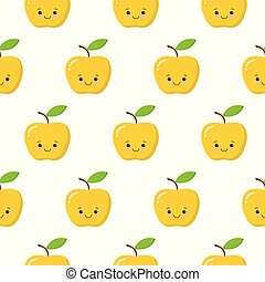 Yellow cute kawaii apple seamless pattern on the white background. Vector illustration.