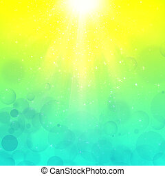 Yellow-Cyan bubbles rays background - Abstract background ...
