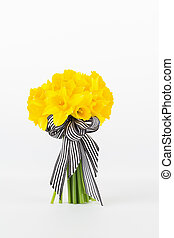 Yellow daffodil bouquet close up - Yellow daffodil hand tied...