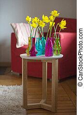 Yellow daffodils in interior