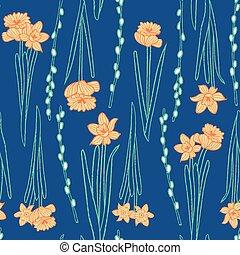 Yellow daffodils seamless pattern blue background