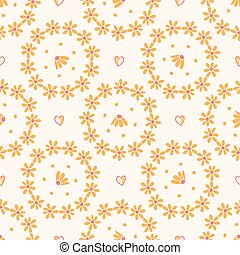 Yellow daisy circle wreath. Hand drawn seamless vector pattern