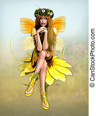 Yellow Daisy Fay - a cute fairy in yellow dress is sits on a...