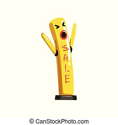 Yellow dancing inflatable tube man with waving hands vector Illustrations on a white background