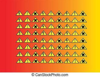 Yellow danger icons
