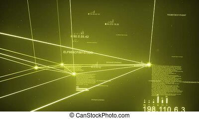 Yellow Dark Plexus Network Loopable - Computer Network,...