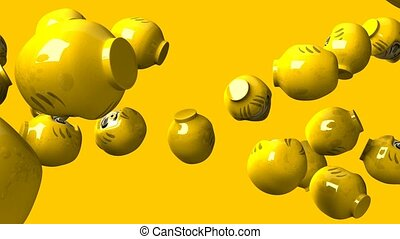 Yellow daruma dolls on yellow background. Loop able 3DCG...