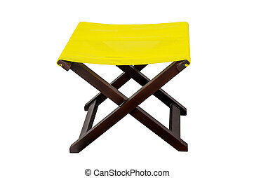Yellow deckchair isolated on white