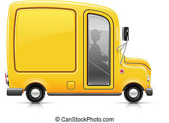 yellow delivery car vector illustration isolated on white ...