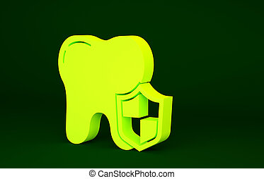 Yellow Dental protection icon isolated on green background. Tooth on shield logo. Minimalism concept. 3d illustration 3D render