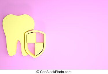 Yellow Dental protection icon isolated on pink background. Tooth on shield logo. Minimalism concept. 3d illustration 3D render