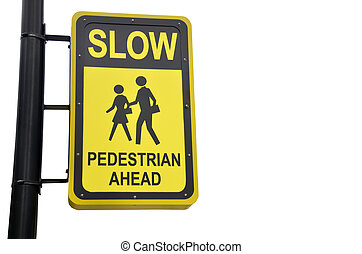 Yellow design sign for pedestrian ahead