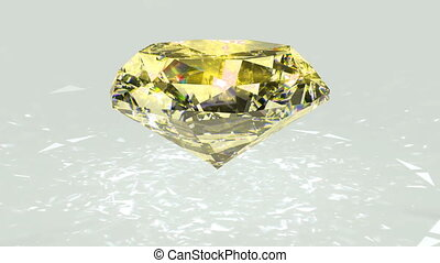 Yellow diamond dispersion footage. Crystal clean gem. Round diamond cut animation with light rainbow on surface. Silver bright video. 3D animation of shiny gem stone