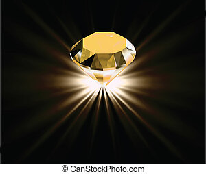 Yellow diamond. Vector