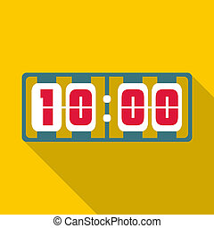 Yellow digital clock icon, flat style