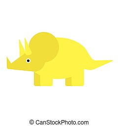 Yellow dinosaur flat illustration on white