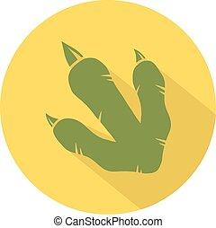 Yellow Dinosaur Footprint Circle
