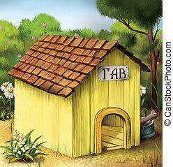 Yellow Dog House. Illustration.