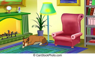 Yellow Dog Indoor - Big yellow dog lies near a chimney and...