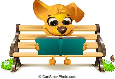 Yellow dog sits on bench and reads book. Vector 3d...