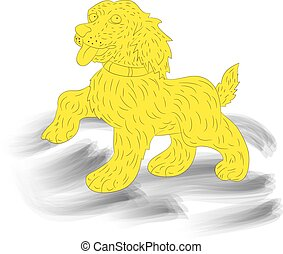 Yellow dog-symbol of the year, silhouette, cartoon on white background,