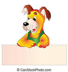 Yellow dog with blank template for text, cartoon on white background,