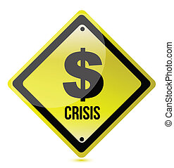 yellow dollar crisis sign