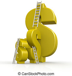 Yellow dollar signs with white ladder