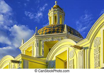 Yelow Dome San Cristobal Church Templo de San Cristobal Historic Puebla Mexico.  Built in 1600 to 1700s