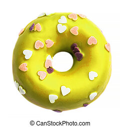 Yellow Donut with sprinkles isolated on white background