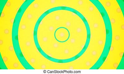 """Yellow dots background spin and green circle scale up. Pop art background animation with seamless loop."""