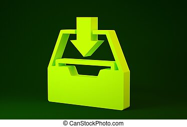 Yellow Download inbox icon isolated on green background. Add to archive. Minimalism concept. 3d illustration 3D render