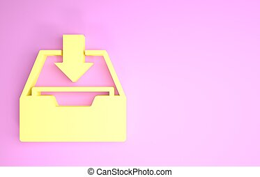 Yellow Download inbox icon isolated on pink background. Add to archive. Minimalism concept. 3d illustration 3D render