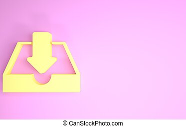 Yellow Download inbox icon isolated on pink background. Minimalism concept. 3d illustration 3D render