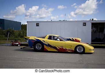 yellow drag racing car - taken in elliot lake