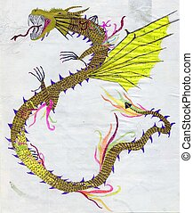 Yellow Dragon - Hand drawn artistic dragon of yellow color...