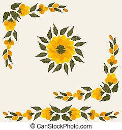 Yellow dried flowers with green leaves isolated on cream background