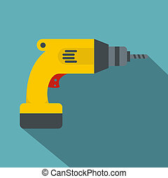 Yellow drill icon, flat style