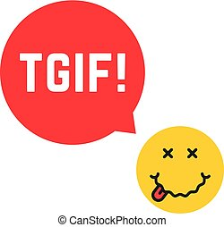 yellow drunk emoji tgif logo like thank god it is friday
