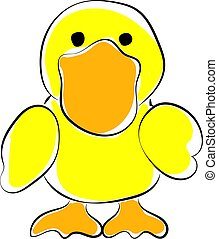 Yellow duck, illustration, vector on white background.