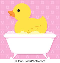 Yellow duck in bathtub with bubbles