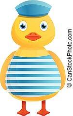 Yellow duck marine sailor icon, cartoon style