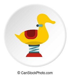 Yellow duck spring see saw icon circle - Yellow duck spring ...
