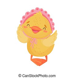 Yellow duckling in a cap. Vector illustration on white background.