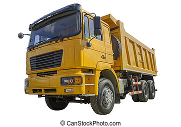 Yellow dump truck isolated over white background