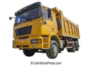 dump truck - Yellow dump truck isolated over white ...