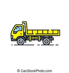 Yellow dump truck line icon
