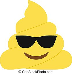 Yellow dung smiley face with black sunglasses flat icon