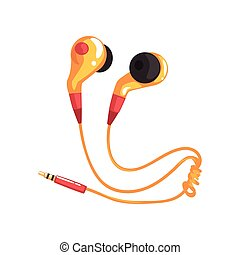 Yellow earphones or earbuds, music technology accessory cartoon vector Illustration on a white background
