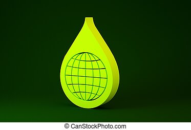 Yellow Earth planet in water drop icon isolated on green background. World globe and water drop. Saving water and world environmental protection. Minimalism concept. 3d illustration 3D render